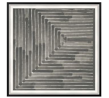 "Neutral Labyrinth Framed Print, 46 x 46"""