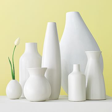 Pure White Ceramic Vase, Raindrop