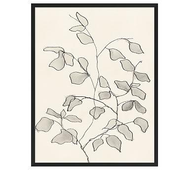 "Charcoal Leaves Framed Print, 26 x 32"""