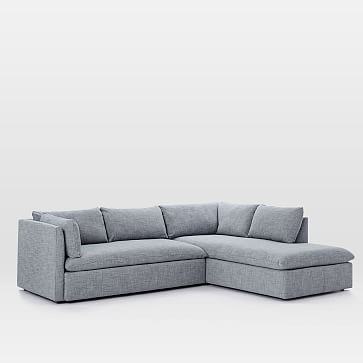 Shelter Set 1- Left Arm Sofa, Right Arm Terminal Chaise, Performance Velvet, Ink Blue