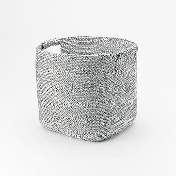 Metallic Woven Baskets, Storage Bin, Silver Plastic