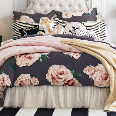 The Emily & Meritt Bed Of Roses Euro Sham, Black/Pink