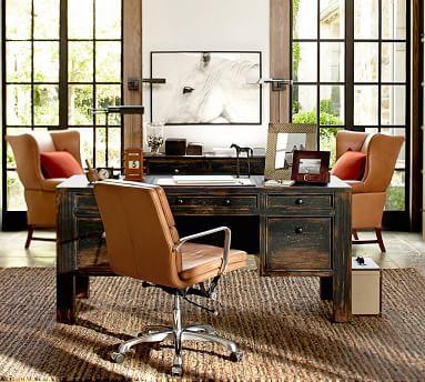 Nash Swivel Desk Chair, Leather Caramel