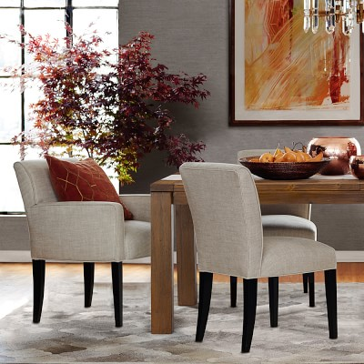 Fitzgerald Dining Chair, Arm , Ebony, Chunky Linen, Natural