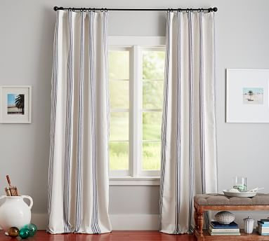 "Riviera Striped Linen/Cotton Rod Pocket Blackout Curtain, 50 X 84"", Charcoal"