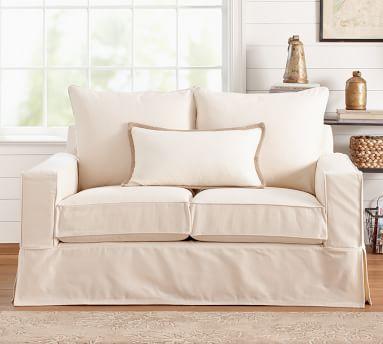 "PB Comfort Square Arm Slipcovered Grand Sofa 87"" Box Edge Memory Foam Cushions, Twill White"