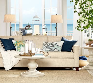 """Cameron Roll Arm Upholstered Sofa 88"""", Polyester Wrapped Cushions, Chenille Basketweave Pebble"""