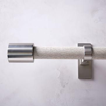 """Mid Century Rod + 3 Brackets, White Washed/Brushed Nickel. 44""""-108"""""""