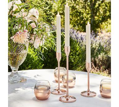 Monique Lhuillier Marlowe Candlesticks, Rose Gold - Set Of 3