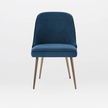 Mid-Century Upholstered Chair,Performance Velvet,Petrol,Oil Rubbed Bronze /individual