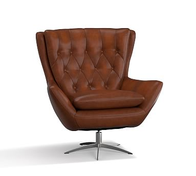 Wells Leather Swivel Armchair, Polyester Wrapped Cushions, Leather  Burnished Saddle