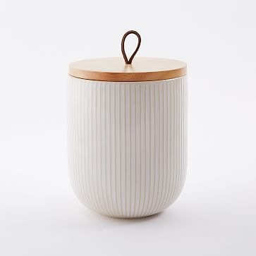Textured Kitchen Canister, White, Extra Large