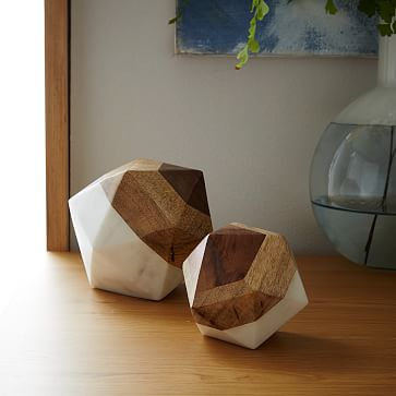 Marble & Wood Geometric Objects / Large