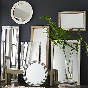Parson's Wall Mirror, Round, Herringbone Frame