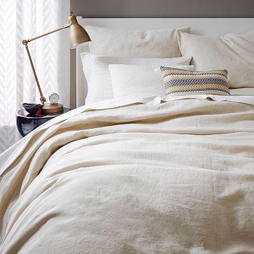 Belgian Linen Duvet Cover, King, Natural Flax