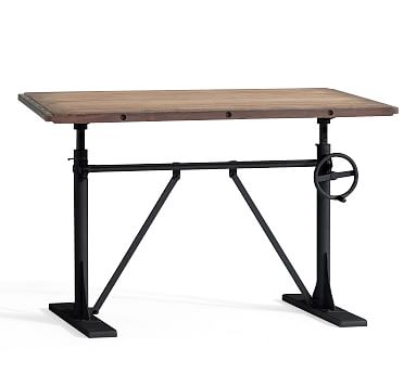 Pittsburgh Crank Standing Desk, Washed Pine