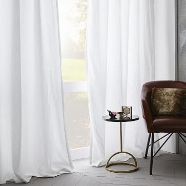 """Belgian Linen Curtain, White, 48""""x96"""", Unlined, Individual"""
