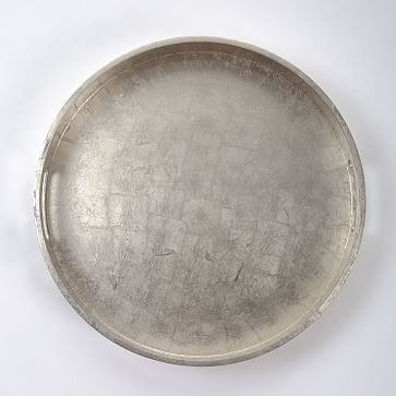 """Wood + Lacquer Round Tray, 18"""", White"""