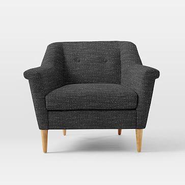 Finn Armchair, Heathered Tweed, Charcoal