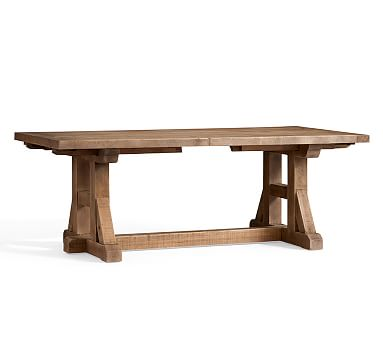 """Stafford Reclaimed Pine Extending Dining Table, 86"""" - 110"""" L"""
