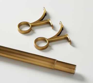 "PB Standard Drape Rod & Wall Bracket, .75"" diam., XX-Large, Brass Finish, 108"" - 144"""