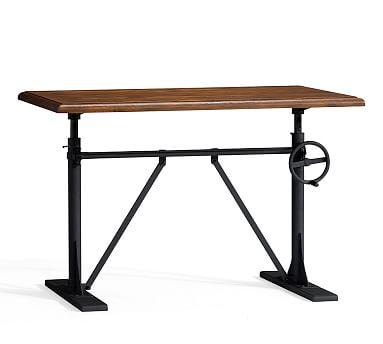 Pittsburgh Crank Sit-Stand Desk, Vintage Chestnut