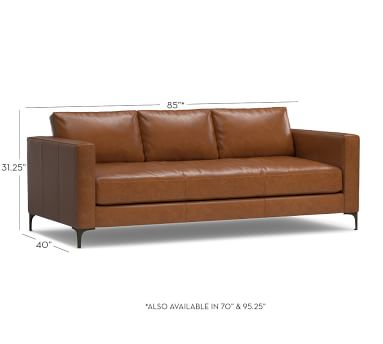 """Jake Leather Sofa 85"""", Down Blend Wrapped Cushions, Vintage Caramel"""