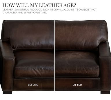 """Turner Square Arm Leather Sofa 85.5"""", Down Blend Wrapped Cushions, Signature Maple"""