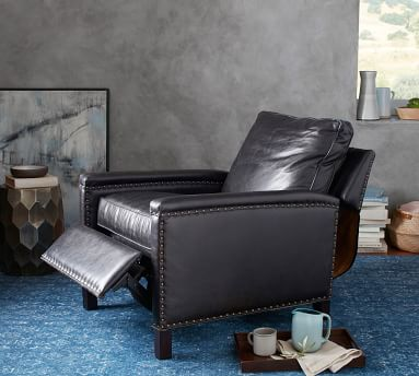 Tyler Square Arm Leather Recliner With Bronze Nailheads, Down Blend Wrapped Cushions, Burnished Wolf Gray