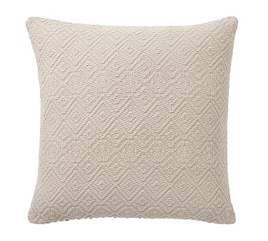 """Washed Diamond Pillow Cover, 20"""", Flax"""