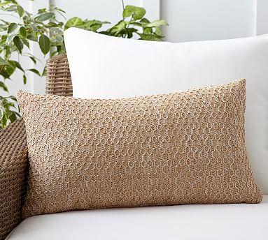 "Honeycomb Faux Fiber Indoor/Outdoor Pillow, 16 x 26"", Natural"