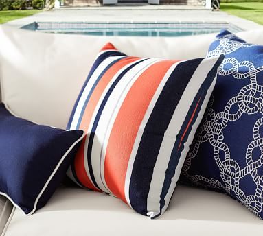 """Sunbrella(R) Contrast Piped Solid Indoor/Outdoor Pillow, 24"""", Natural"""