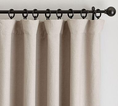 "Classic Belgian Flax Linen Drape, Blackout Lining, 50 x 96"", Dark Flax"