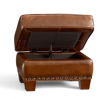Irving Leather Storage Ottoman, Bronze Nailheads, Polyester Wrapped Cushions, Statesville Molasses