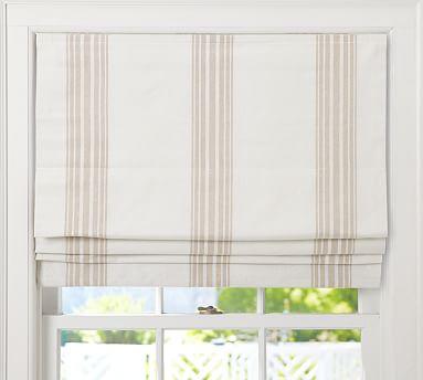 "Riviera Stripe Cordless Roman Shade, 36 x 64"", Sandalwood"