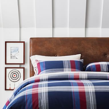 Walker Plaid Duvet Cover, Orange, Full/Queen
