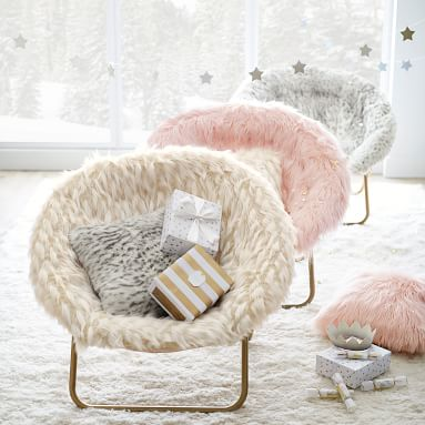 Ivory Himalayan Faux-Fur Hang-A-Round Chair