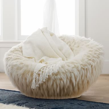 Winter Fox Faux-Fur Groovy Swivel Chair
