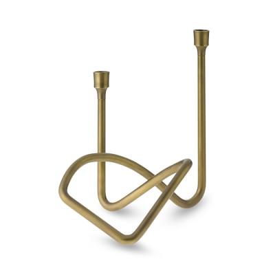 Sculptural Candleholder, Antique Brass