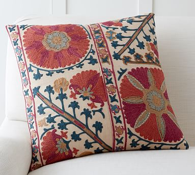 """Rozelle Embroidered Pillow Cover, 20"""", Multi"""
