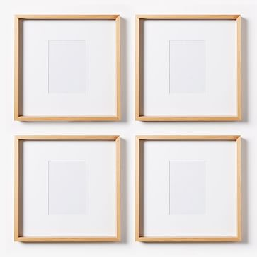 "Thin Wood Gallery Frame, Bamboo, Set of 3, 8 x 10 opening with mat/ 16.5""X13.5"""