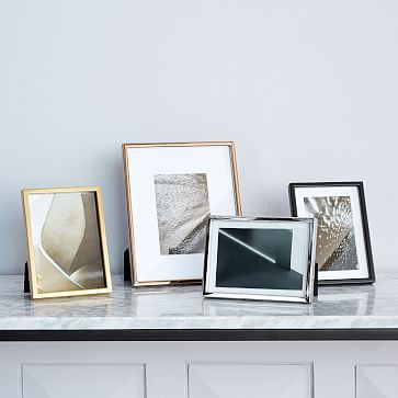 """Gallery Frame, Polished Brass, 5"""" x 7"""" (12"""" x 12"""" without mat)"""