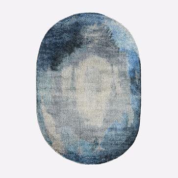 Watermark Oval Rug, Midnight, 6'x9'