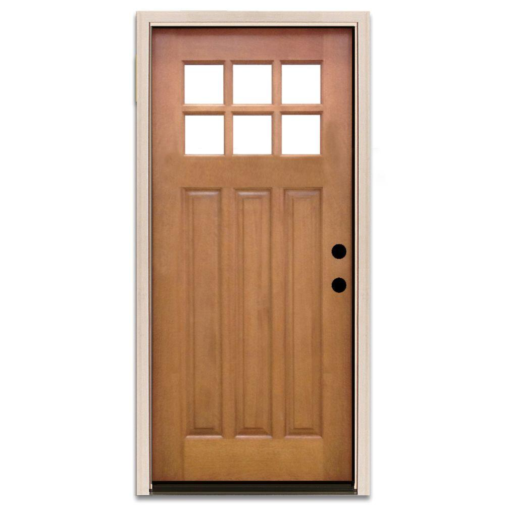 Steves & Sons 32 in. x 80 in. Craftsman 6 Lite Stained Mahogany Wood Prehung Front Door, Wheat-White