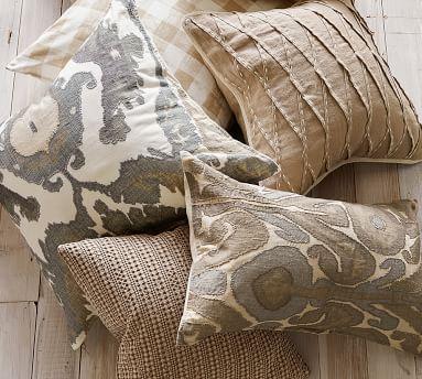 """Hudson Ikat Pillow Cover, 24"""" x 24"""", Neutral"""