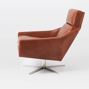 Austin Swivel Base Chair, Aspen Leather, Fog, Polished Nickel