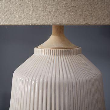 Roar + Rabbit Ceramic Table Lamp, White, Large-Individual