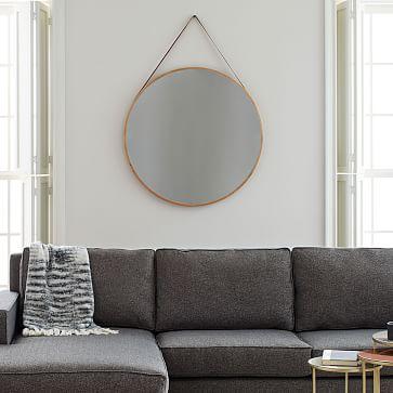 """Modern Hanging Oversized Mirror, Natural/Tan, 36"""""""