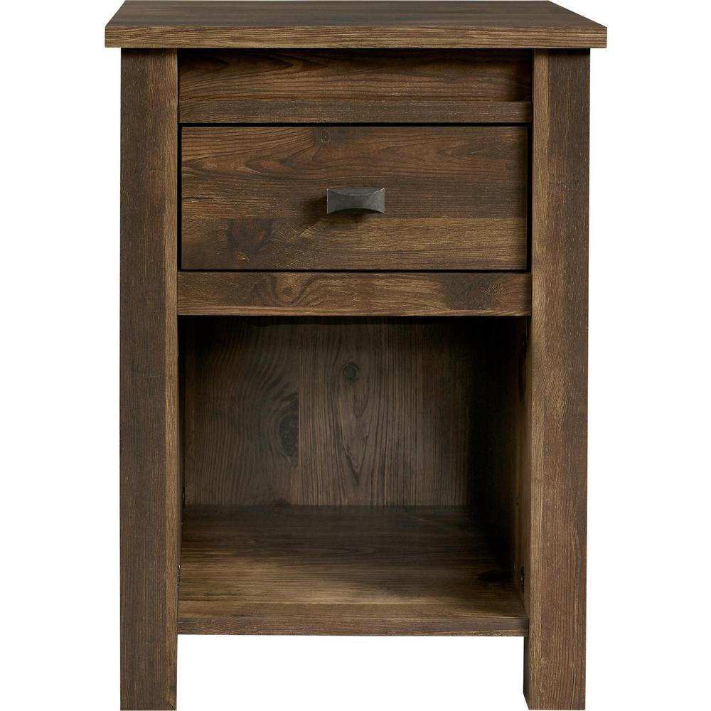 Brownwood Rustic Medium Brown 1 Drawer Nightstand Home Depot