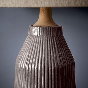 Roar + Rabbit Ceramic Table Lamp, Warm Gray, Tall + Narrow